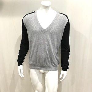 Balenciaga Mens Gray V Neck Light Sweater